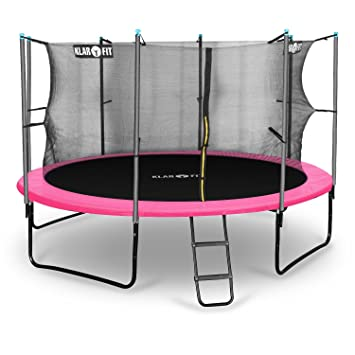 Klarfit Cama elástica trampolin con red de seguridad (superficie base 366 / 430cm diametro, sujecion 4 patas doble, varillas de sujecion acolchadas, ...