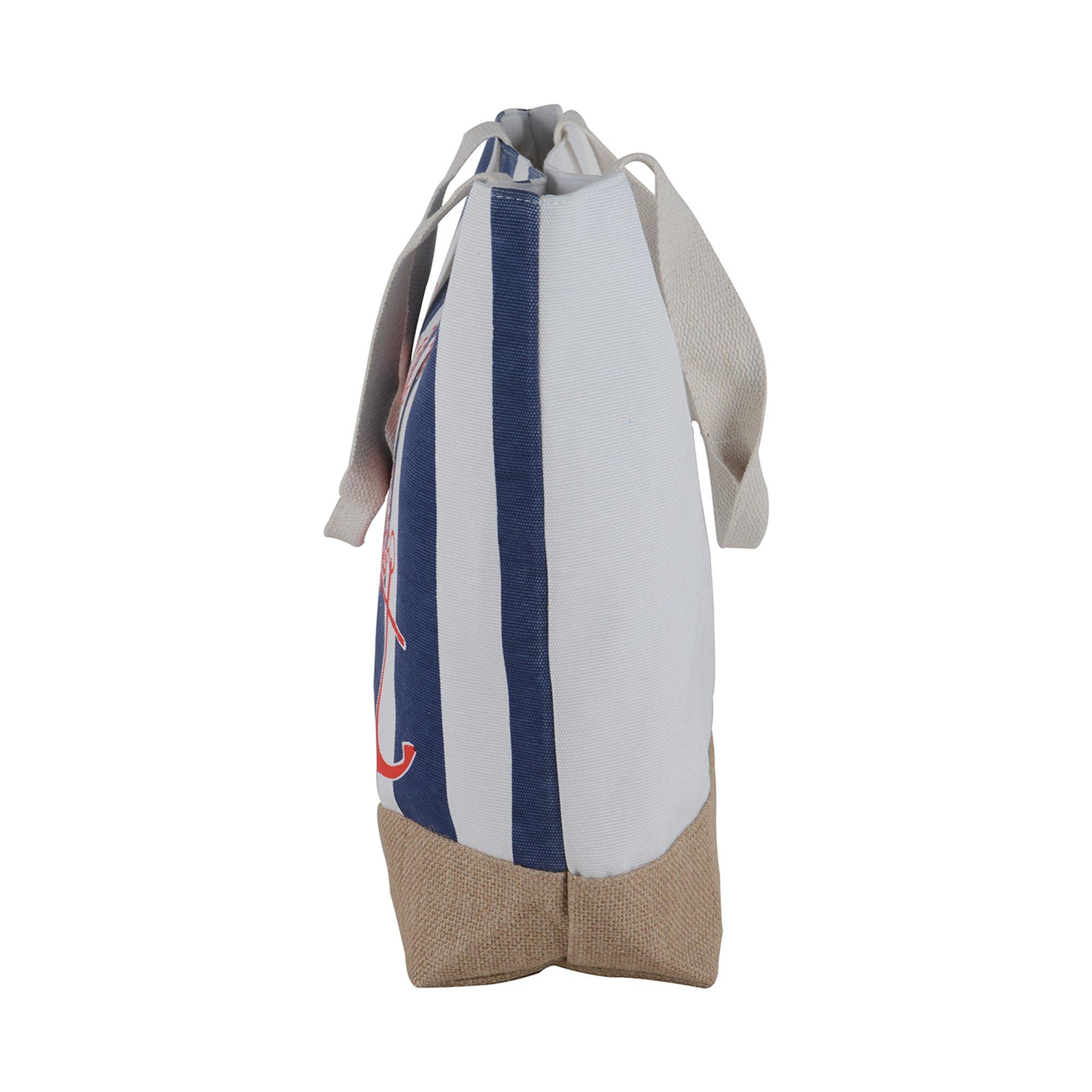 Canvas Burlap Beach & Me Printed Cotton Heavy Shoulder Straps Premium Women Tote Bag by BB (Navy Blue) by BB (Image #6)