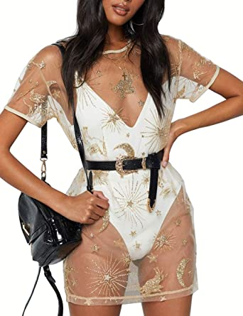 Women S See Through Bikini Cover Up Floral Sheer Mesh Beach Dress Gold Sequins Short Sleeve Night Wear At Amazon Women S Clothing Store