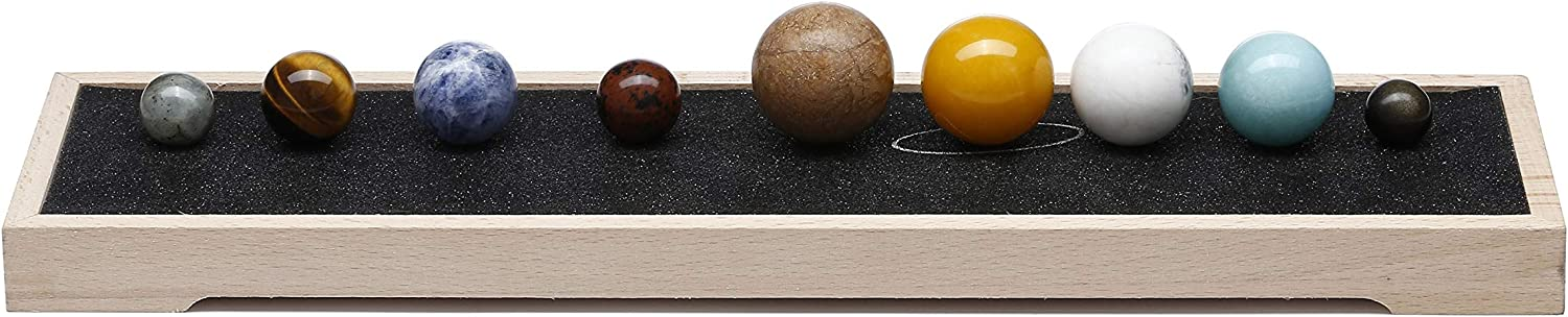 Top Plaza 9 Planets Universe Solar System Desk Decor Tumbled Chakra Reiki Healing Crystal Gemstones Ball Set with Wooden Box Celestial Creative Gift Crystals Home Office Decorations - Non Engraving