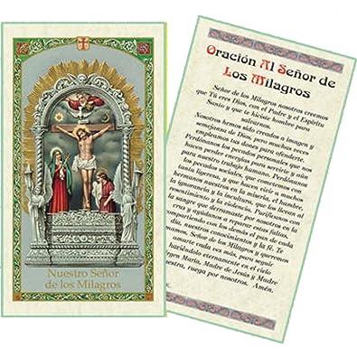 Amazon.com: Oracion Al Senor De Los Milagros Tarjeta De Rezo Laminada Bendita Por Su Santidad Francisco: Jewelry