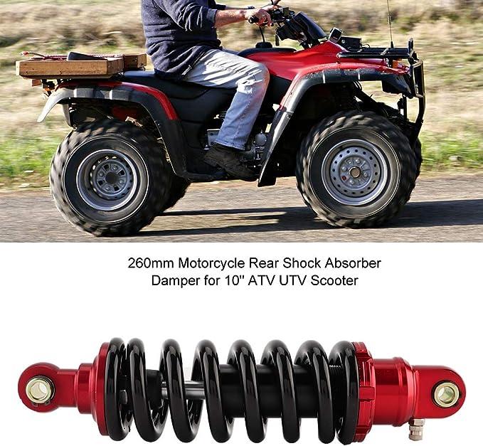 aleaci/ón de aluminio amortiguadores Struts Springs Amortiguador para 10ATV UTV Scooter 260 mm Amortiguador trasero