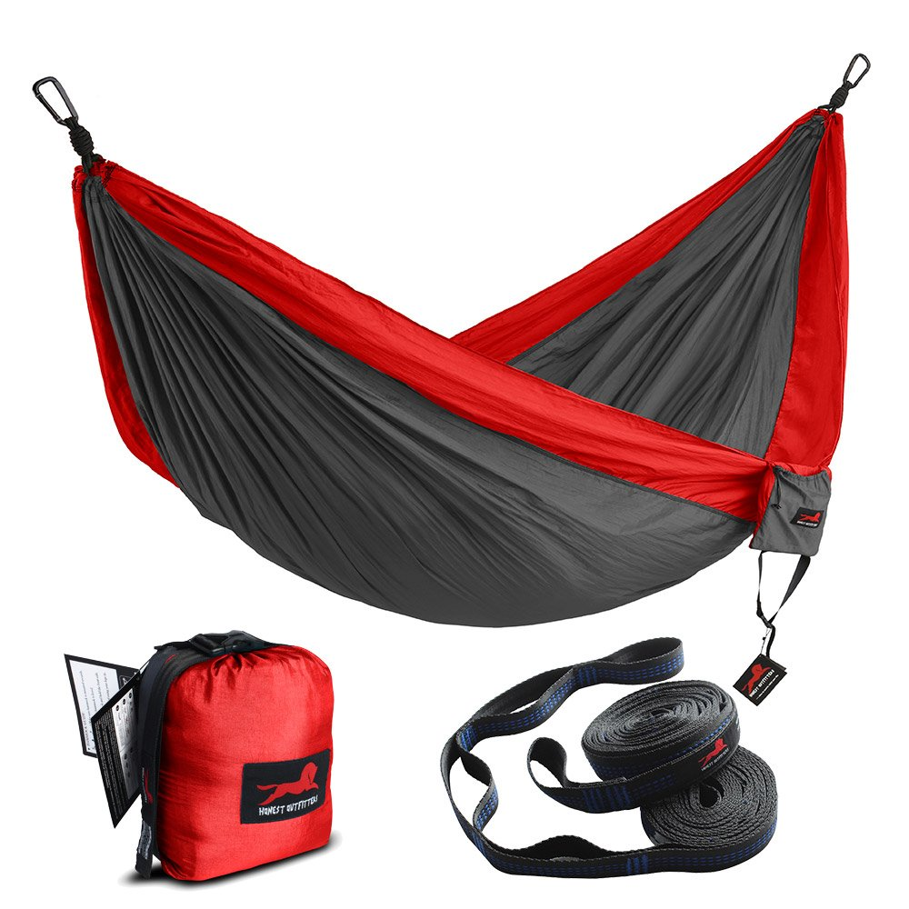 HONEST OUTFITTERS Double Camping Hammock with Hammock Tree Straps,Portable Parachute Nylon Hammock for Backpacking Travel 118'' W x 78'' L Red/Charcoal by HONEST OUTFITTERS