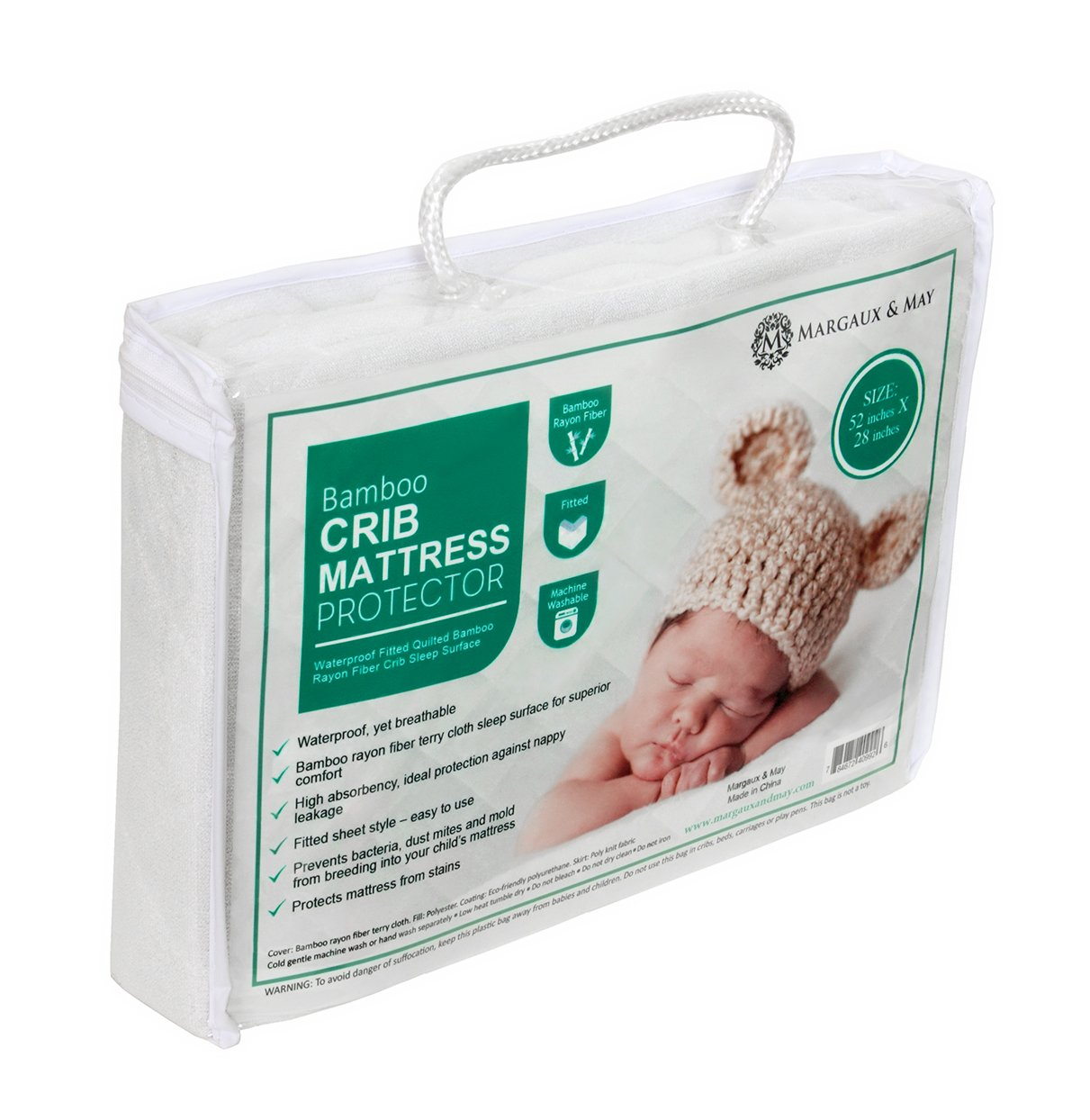 Baby crib mattress amazon - Amazon Com Ultra Soft Waterproof Crib Mattress Protector Pad From Bamboo Rayon Fiber By Margaux May Fitted Quilted Mattress Protector Pad For Your