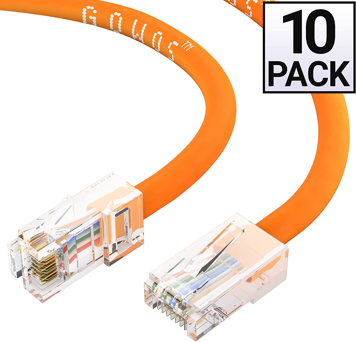 Available in 28 Lengths and 10 Colors Cat5e Ethernet Cable RJ45 10Gbps High Speed LAN Internet Patch Cord UTP Computer Network Cable with Bootless Connector 50 Feet - Gray GOWOS 10-Pack