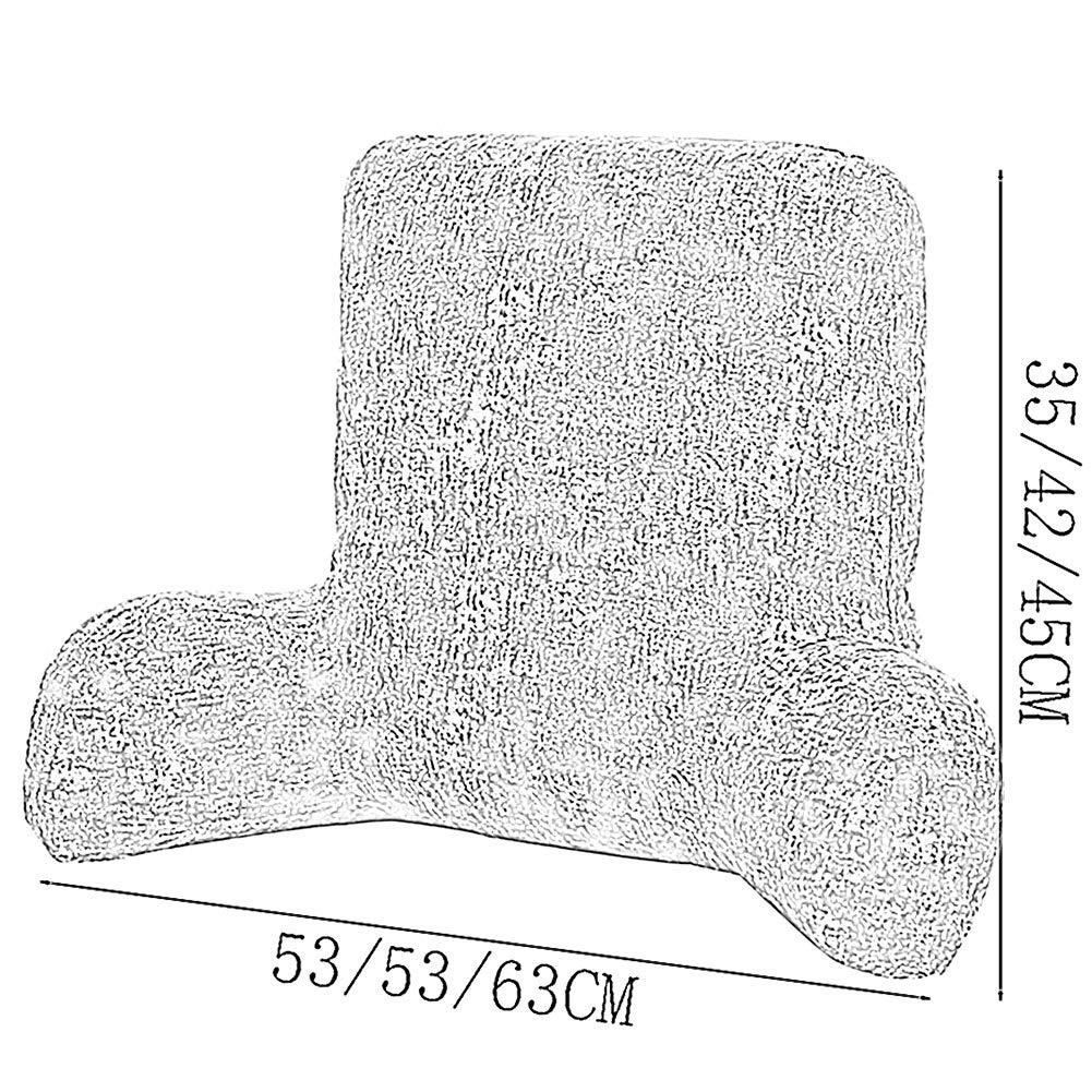 3 Tailles GuoWei Dossier Oreiller Assis Soutien Lit Chaise Coussin Avec Bras pour Confort En Train de Lire Relaxant 5 Couleurs Couleur : A, taille : 53x35x18cm