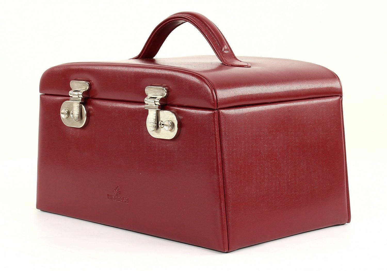 Windrose Windrose Windrose Merino Schmuckkoffer mit 6 Seitenschubladen Rot 939057