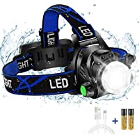 Super Bright Headlamp, USB Rechargeable Led Head Lamp, IPX4 Zoomable Waterproof Headlight with 4 Modes and Adjustable…