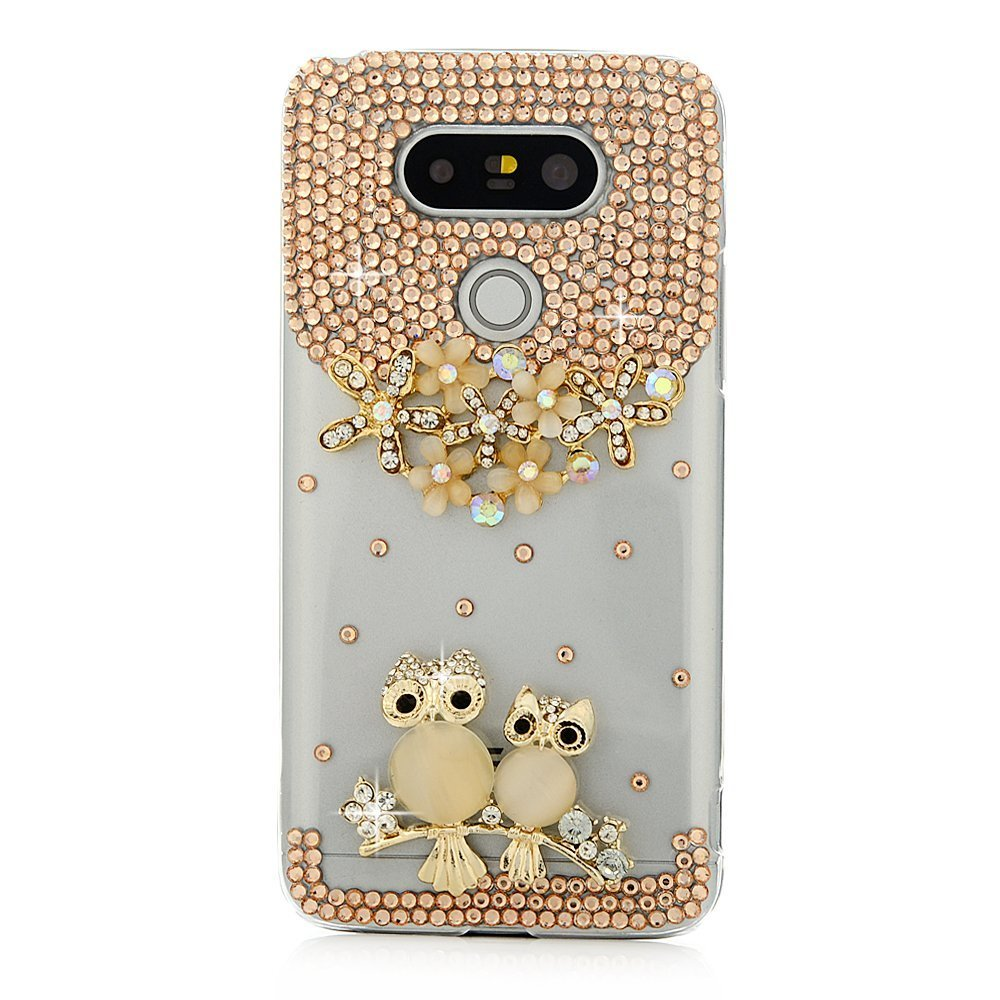 STENES LG X Charge Case - Stylish - 100+ Bling Crystal - 3D Handmade Sweet Night Owl Flowers Design Protective Case for LG X Power 2 /LG Fiesta LTE/LG X Charge - Gold