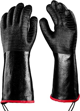 Waterproof with Textured Palms RAPICCA Griller Heat Resistant Insulated Cooking Gloves for Barbecue//Grill//Smoker//Fry Turkey//Oven mitt//Baking Size 8//M-17inch
