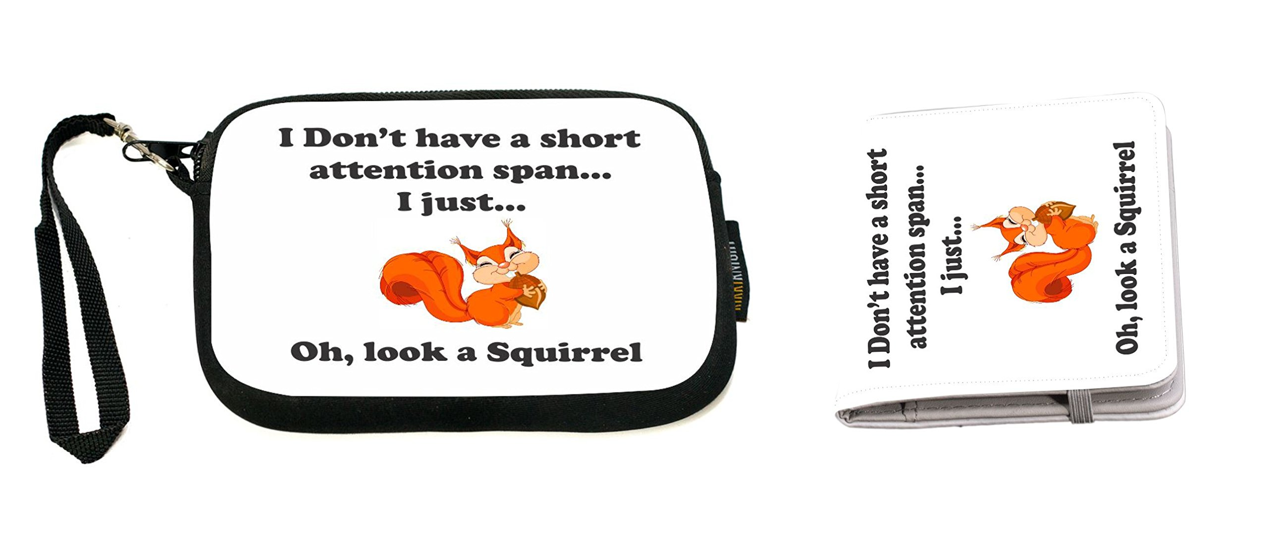 Rikki Knight Funny I Don't have a Short Attention Span Design Neoprene Clutch Wristlet with Matching Passport Holder