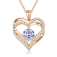 Forever Love Heart Women Necklace 925 Sterling Silver Rose Gold Plated Birthstone Pendant Necklaces for Women with 5A Cubic Zirconia Valentine's Jewelry Gift Birthday Gift for Mom Women Wife Girls Her