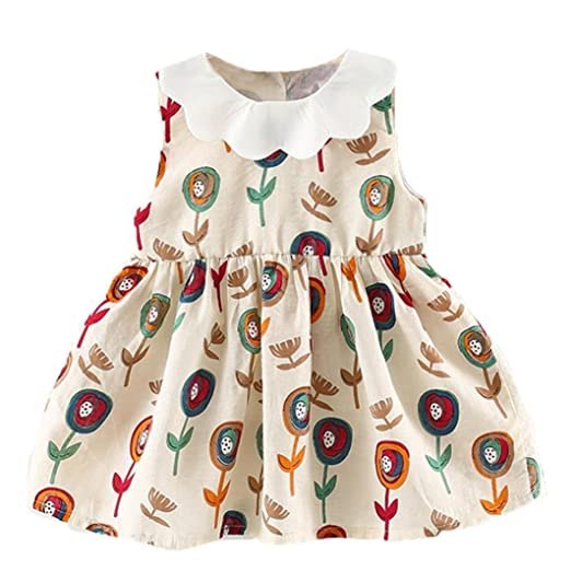 72f79558d828 Euone® Toddler Girls Summer Dress Outfits Infant Sleeveless Flower Short  Dresses (0-6