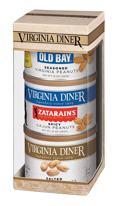 Virginia Diner - Seasoned Triplet Gift Set (Salted Virginia Peanuts, Old Bay Seasoned Peanuts & Butter Toasted Peanuts), Three 10 Ounce Tins