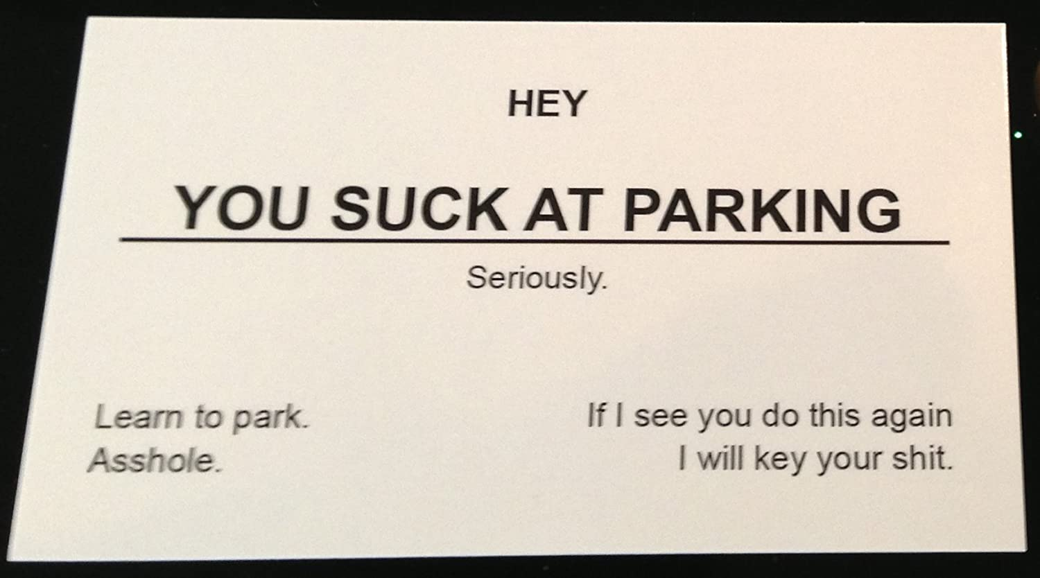 Amazon you suck at parking business cards 10 pack double amazon you suck at parking business cards 10 pack double sided message business card stock office products reheart Images