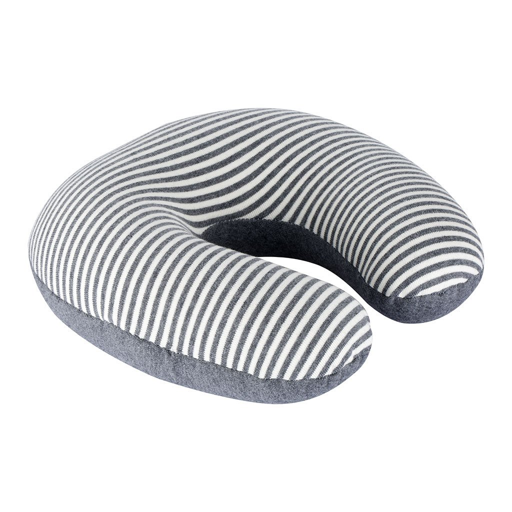 LANGRIA 2-in-1 Lightweight Foldable Travel Pillow with Microbeads and Breathable 100% Cotton Cover for Adults Kids Small Compact Neck Support Pillow for Airplane Bus Train Car, Grey White 2HEV878C-F