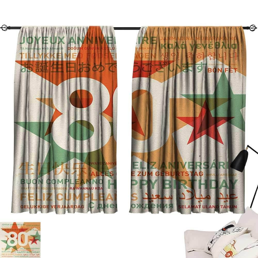 Jinguizi 80th Birthday Room/Bedroom, 80 Years Old Party with Universal Happy Birthday Best Wish Decorative Darkening Curtains Green and Pale Vermilion W55 x L39 by Jinguizi (Image #1)