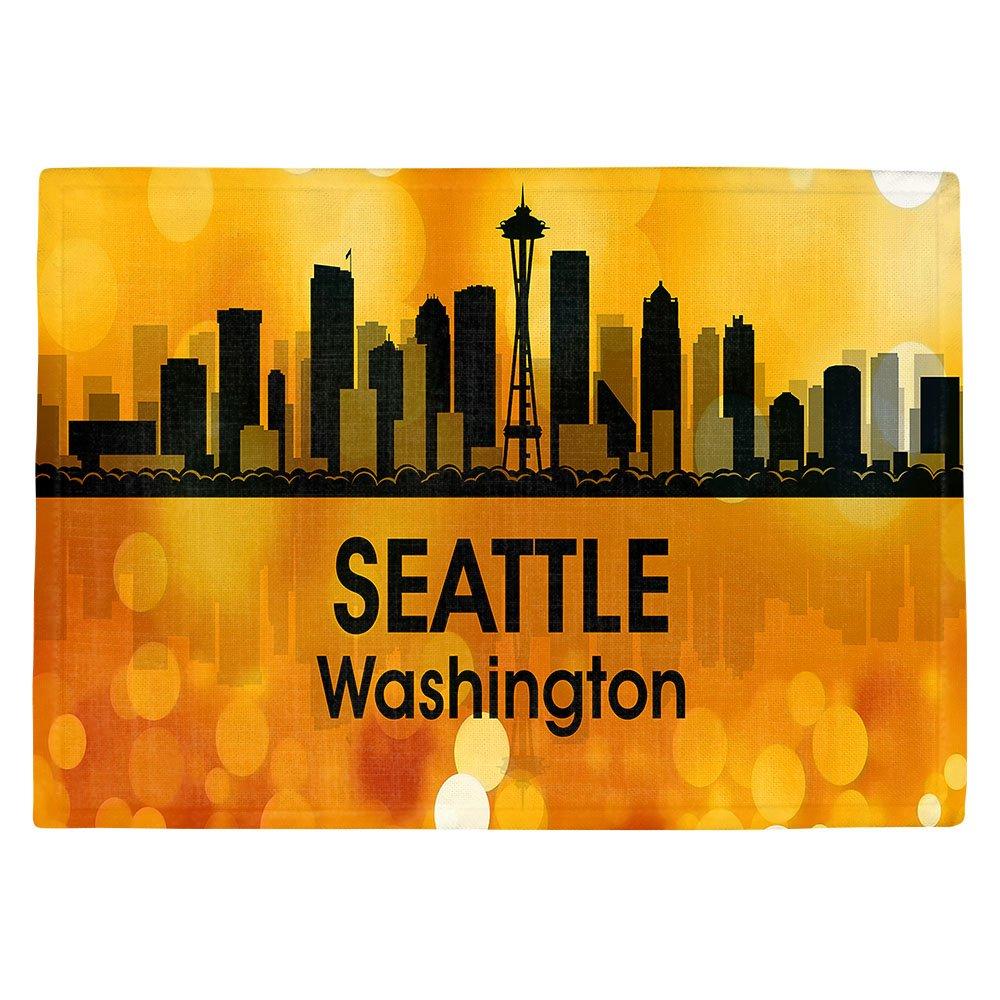 DIANOCHEキッチンPlaceマットby Angelina Vick – City lll Seattle Washington Set of 4 Placemats PM-AngelinaVickCitylllSeattleWA2 Set of 4 Placemats  B01EXSHIQ8