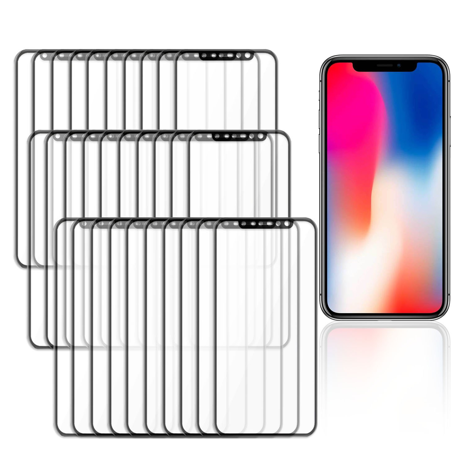 iPhone X / 10 Screen Protector [30 Pack] 3D Tempered Glass Film, Smudge Free, Scratch-Resistant, Anti-Oil pollution, 9H Hardness, Full Edge Cover, Easy Installation, HD High Definition by TortugaArmor
