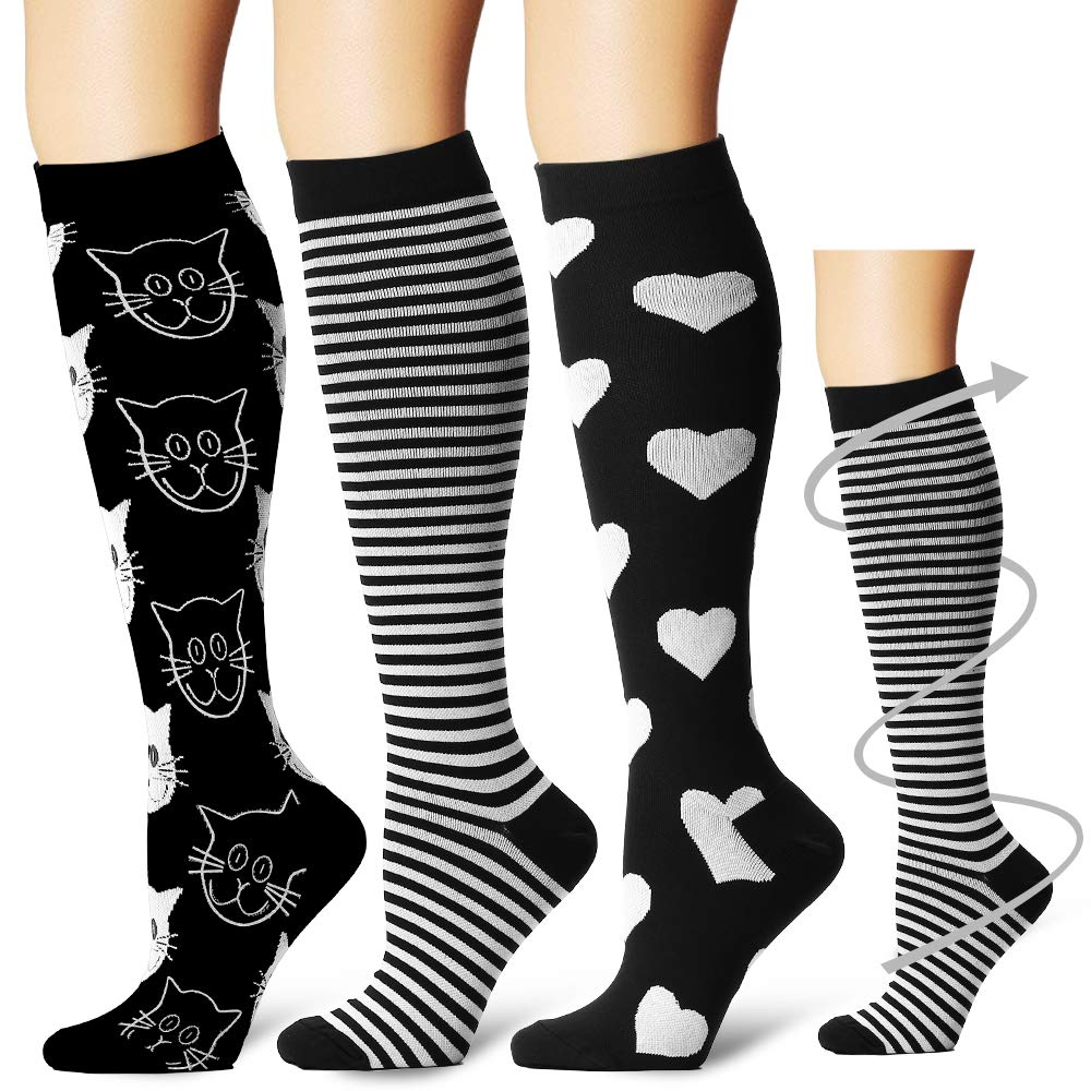 Laite Hebe Compression Socks,(3 Pairs) Compression Sock Women & Men - Best Running, Athletic Sports, Crossfit, Flight Travel (Multti-colors20, Small/Medium)