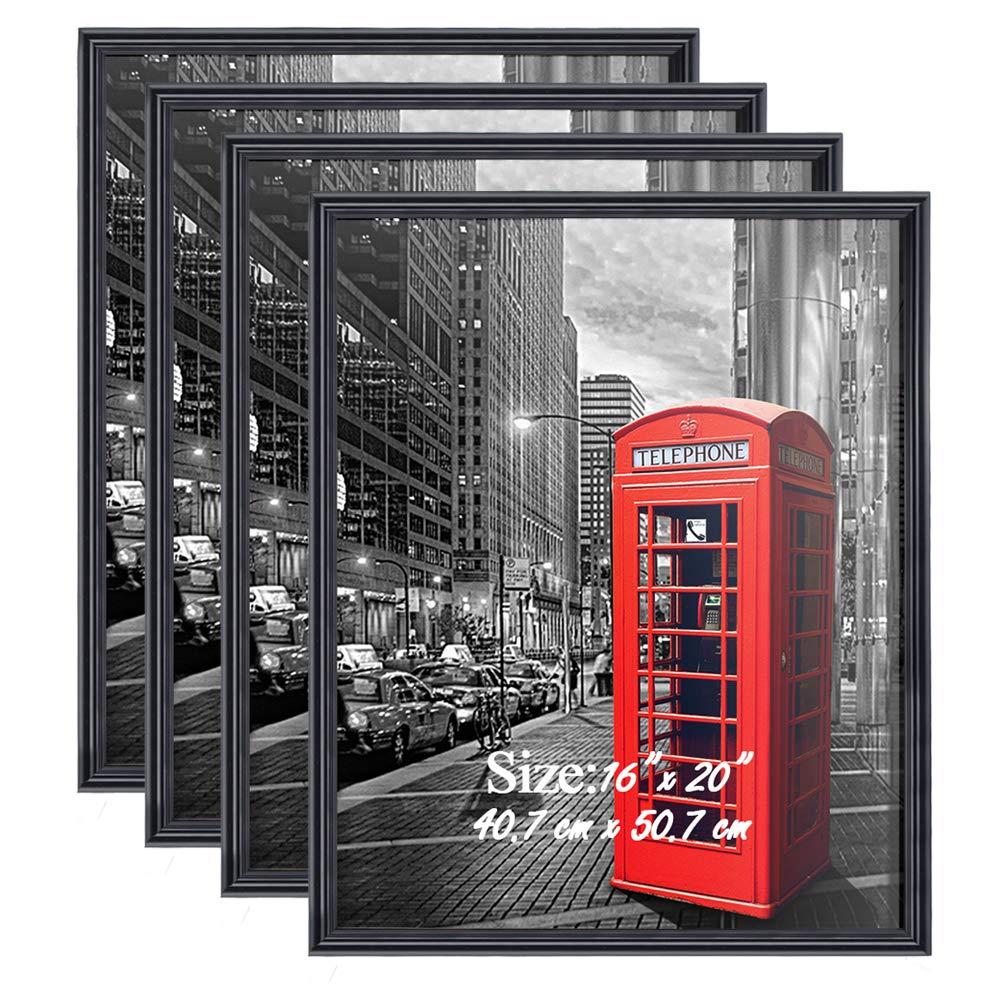 PETAFLOP Poster Frame 16x20 Black Frame Wall Picture Frames 16 x 20 Living Room Wall Decor, Set of 4 by PETAFLOP