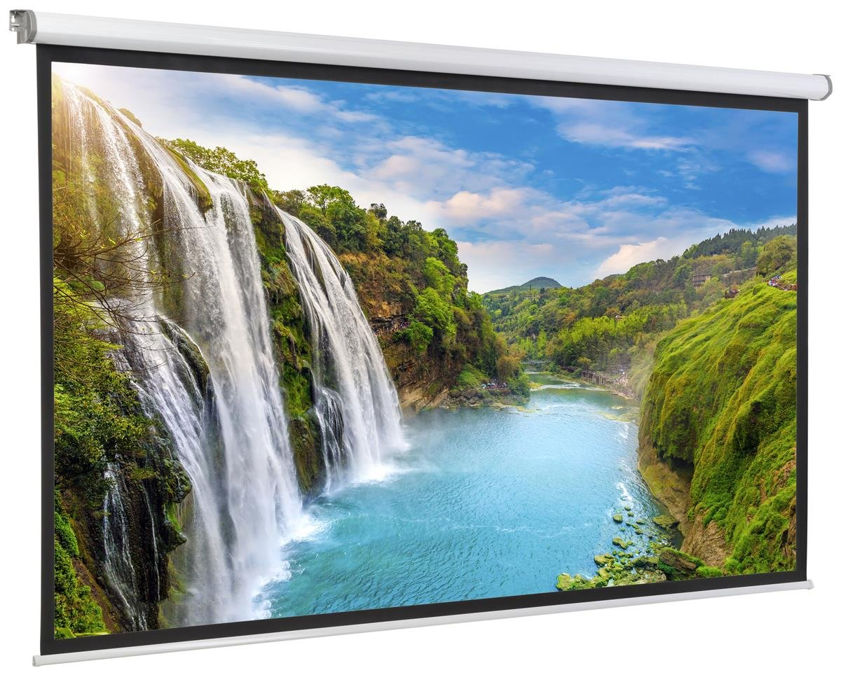 Displays2go, Motorized Projector Screen, Aluminum, Fiberglass, and PVC Construction – Black (PRSELE108)