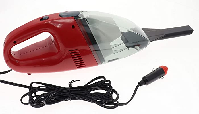 Portable Car Vacuum Cleaner - Wet Dry Surface 12 V Corded Handheld Vacuum Works From Auto Truck RV Boat 12 Volt Power Port Socket. 65 Watt Motor 9' Cord And With Slim Nozzle for Hard-To-Reach Crevices