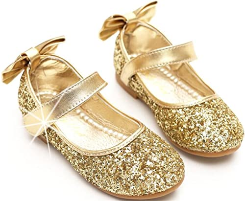cecf8670c612c PPXID Girl's Shiny Sequins Sweet Bowknot Flat Shoes Princess Pumps