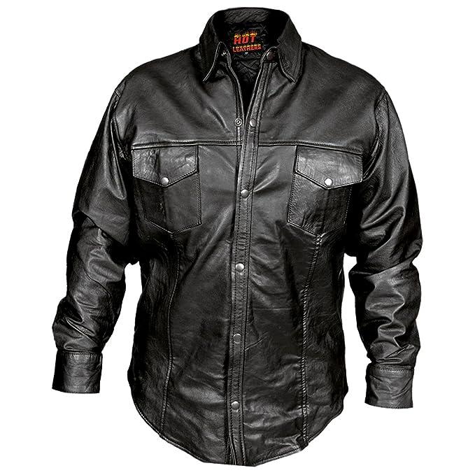 88bf89199b20 Amazon.com: Hot Leathers Men's Leather Shirt (Black, Small): Automotive