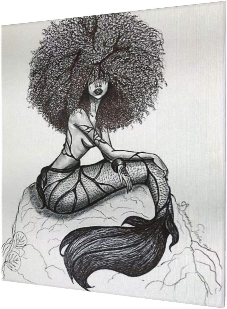 African American Wall Art Black Girl Canvas Wall Art Dector Giclee Printed Pictures Wall Decor - Mermaid Hand Painting For Living Room Bedroom Framed Ready To Hang 20x24 Inch