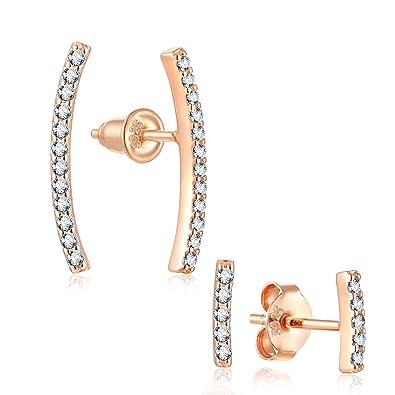 338eff17c Amazon.com: 2 Pairs Sterling Silver Ear Crawler - Minimalist Bar Cuff  Earrings - CZ Ear Climber Earrings for Women (Rose Gold): Jewelry