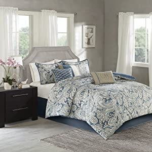 Madison Park Gabby King Size Bed Comforter Set Bed in A Bag - Blue, Paisley – 7 Pieces Bedding Sets – 100% Cotton Sateen Bedroom Comforters