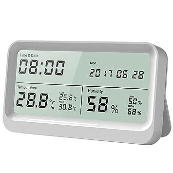 anglink thermomètre hygromètre interieur à grand Écran lcd 16 9