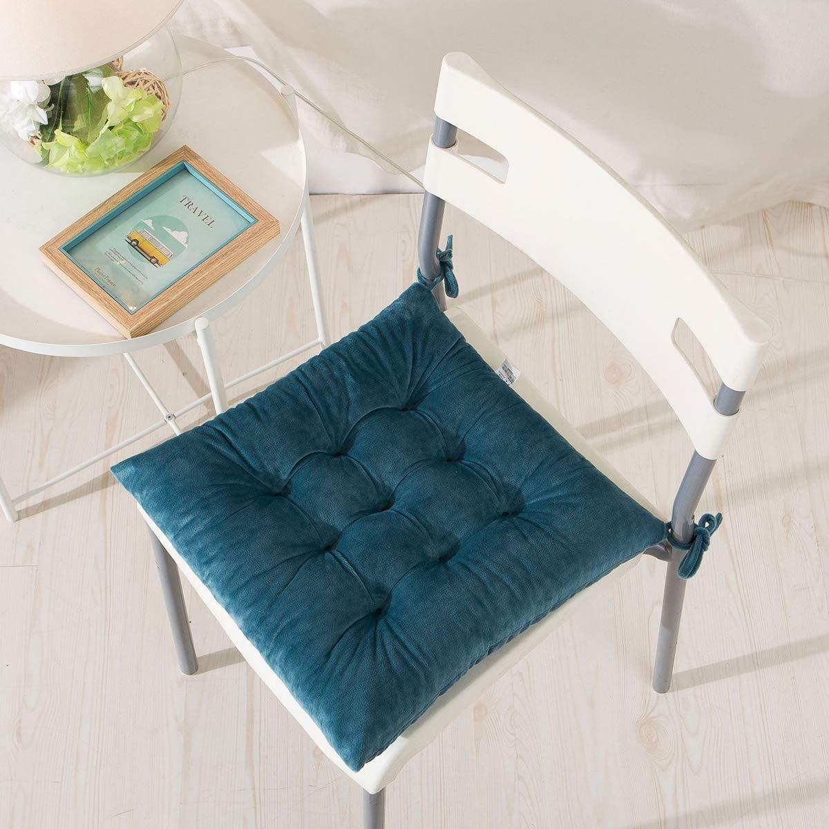 4 Cuscini Da Sedia 40 X 40 Cm Cuscini Da Seduta Con Legami Velluto Morbido Comodi Cuscini Quadrati Per Sedie Da Pranzo Cucina Soggiorno Patio Giardino Dentro E Fuori,Nero