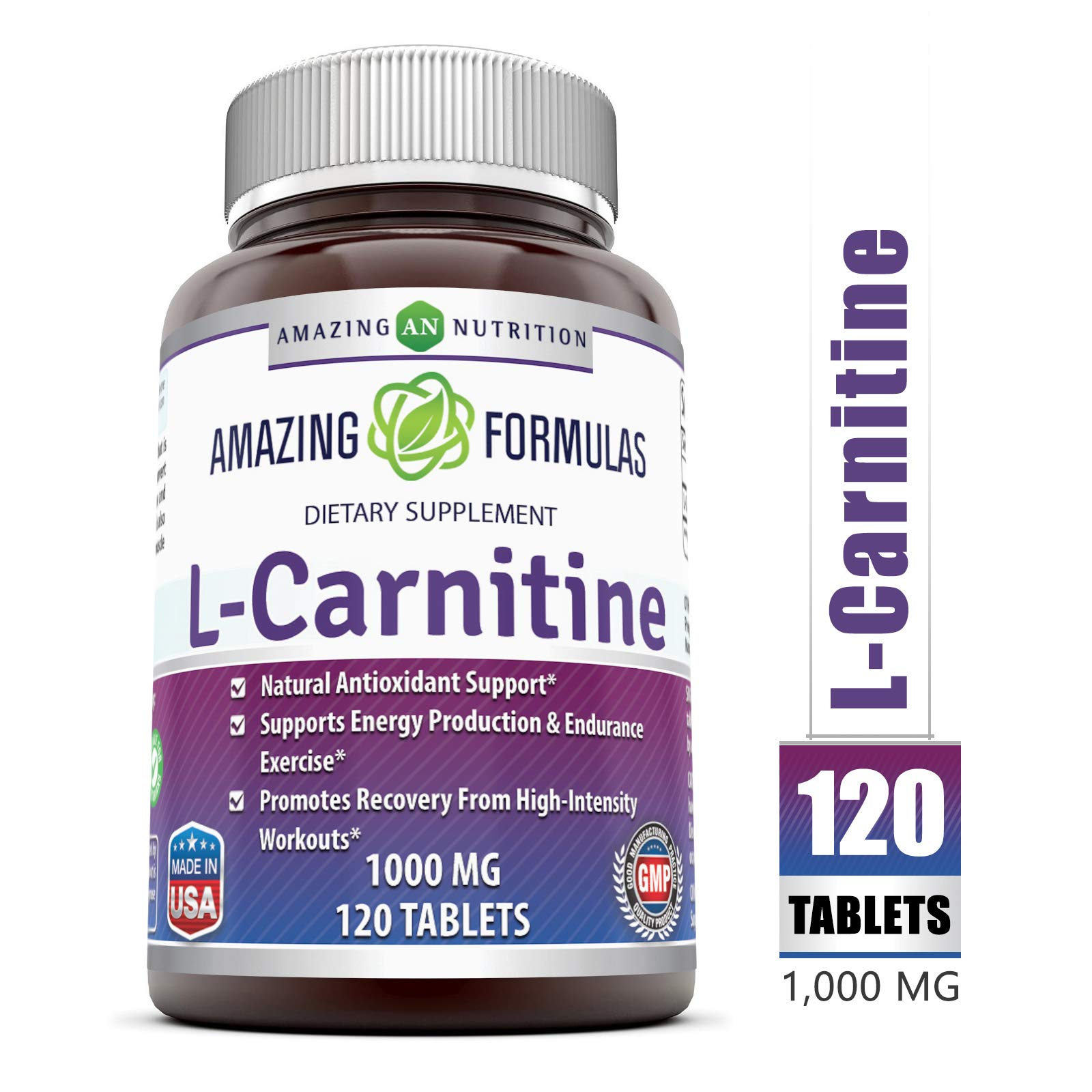 Amazing Formulas L Carnitine Fumarate Supplement - 1000 Mg, 120 Tablets (Non-GMO) - Natural Antioxidant Support - Supports Energy Prduction & Endurance Exercise - Promotes Recovery from High by Amazing Nutrition