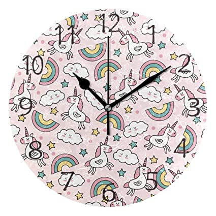 senya Wall Clock Silent 9.5 Inch Battery Operated Non Ticking Cute Vector Unicorns Rainbows Round Decorative