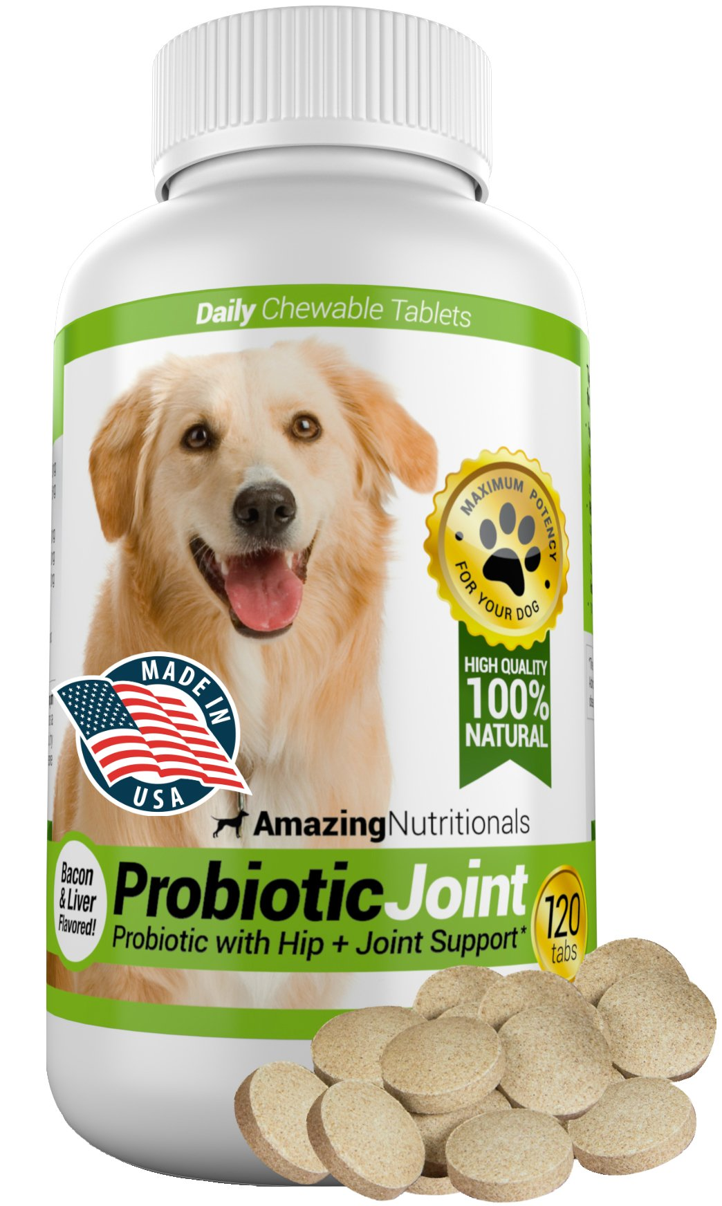 Amazing Probiotics for Dogs Eliminates Diarrhea and Gas, Hip Joint Pain Relief, 120 Chews by Amazing Nutritionals