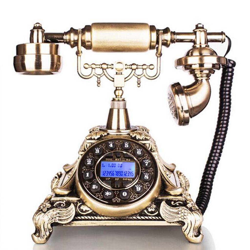 FADACAI Antique phone Retro fixed seat machine Home European style Blue screen Caller ID , gold