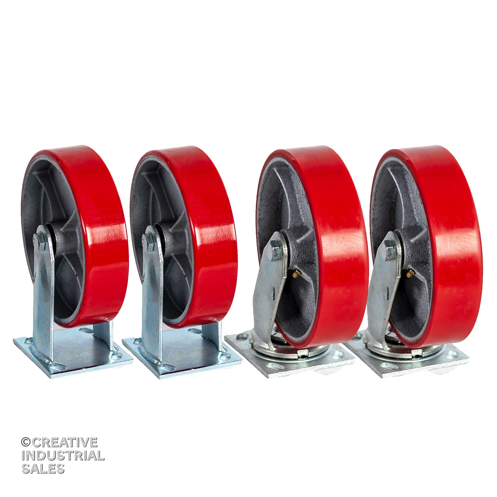 8'' X 2'' Swivel Casters Heavy Duty Polyurethane Wheel on Steel Hub (2) and Rigid (2) 1400lb Each