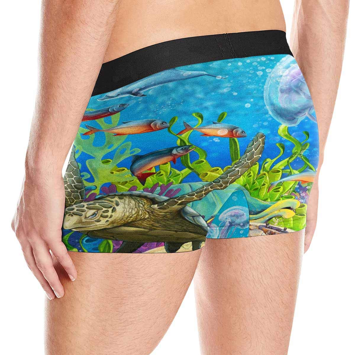 INTERESTPRINT Mens Boxer Briefs Underwear Dolphins Jellyfish Sea Turtle Coral Reef XXXL