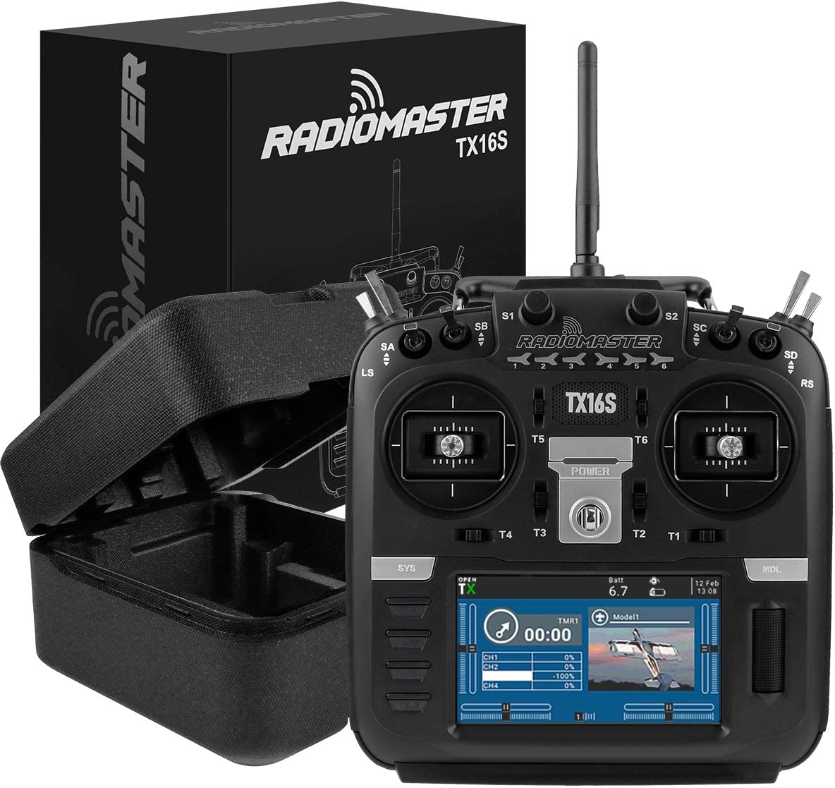 FancyWhoop RadioMaster TX16S Radio Transmitter Hall Gimbal 2.4G 16CH 4.3inch LCD Open Source Multi-Protocol RF System RC Transmitter Remote Control for RC Drone Mode 2 Left Hand Throttle