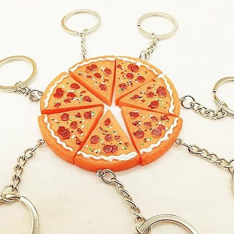 bigboba 5pcs simulación Pizza forma Llaveros personalizados ...