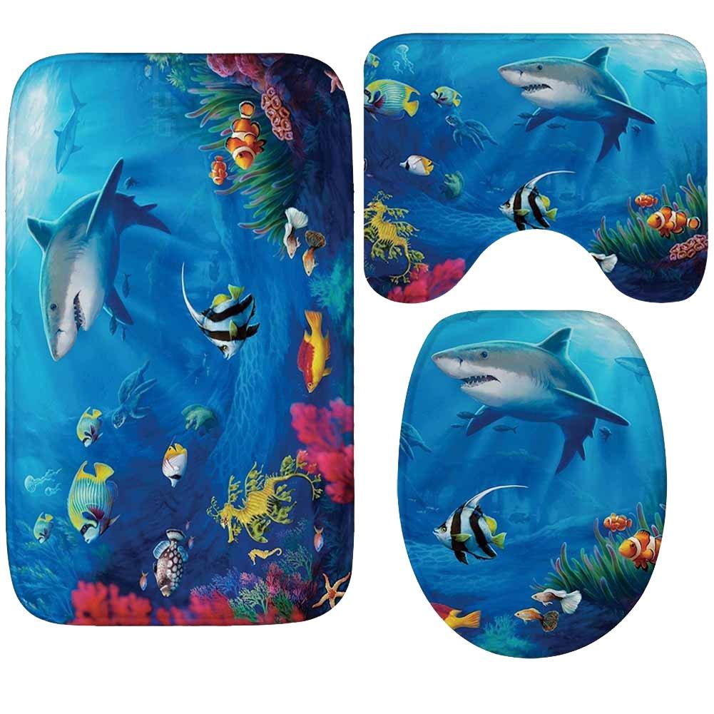WCHUANG Shark Bath Rug Set Kids Baby Non-slip Bathroom Mats, Flannel (shark)