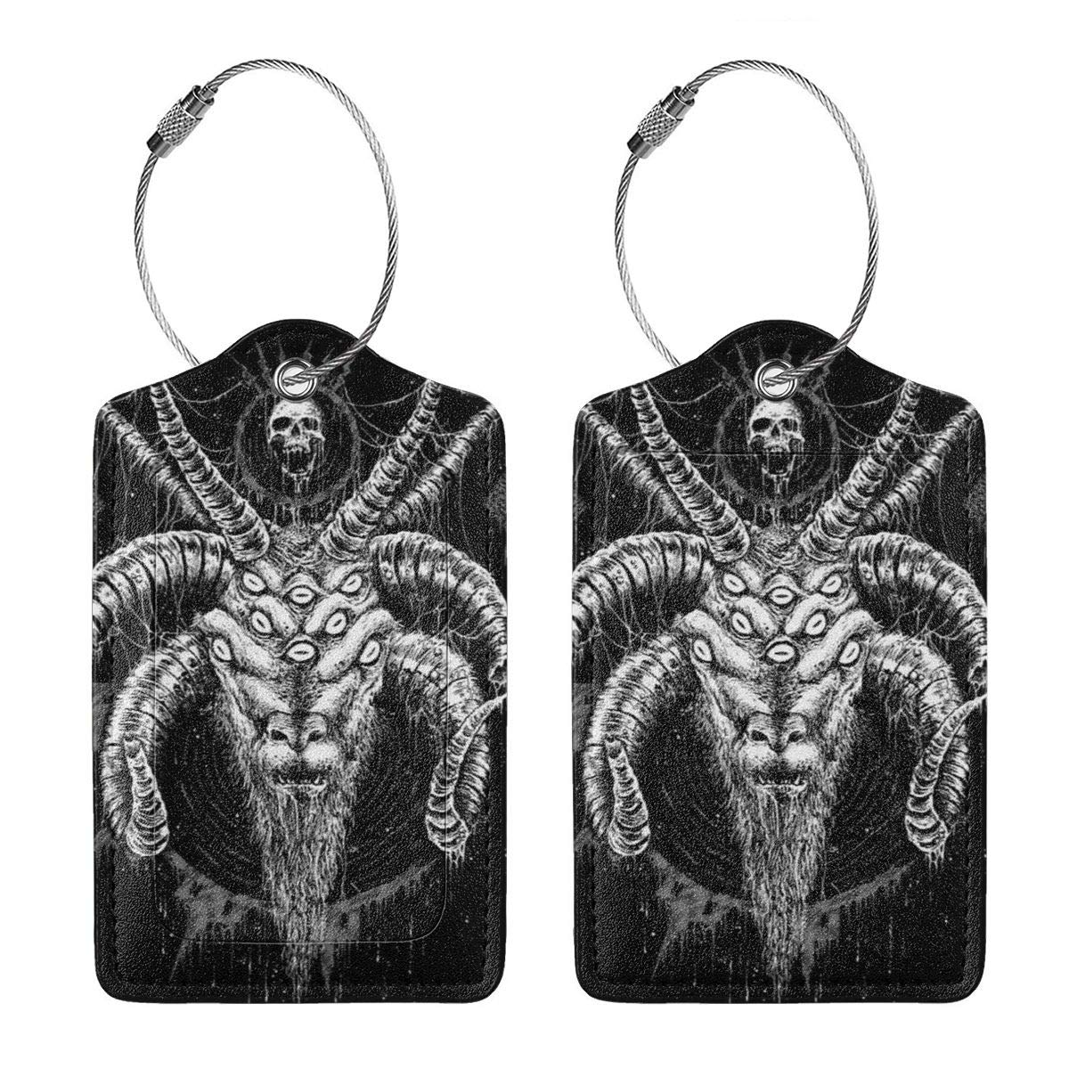 GoldK Baphomet Satan Goat Leather Luggage Tags Baggage Bag Instrument Tag Travel Labels Accessories with Privacy Cover