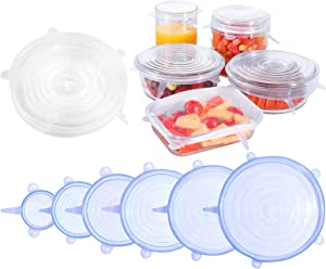 QUNHUI Silicone Lids for Food Storage 12 Pack Silicone Stretch Lids,Silicone Bowl Covers 6 Sizes Silicone Covers Apply to Food Container,Dishwasher and Freezer Safe