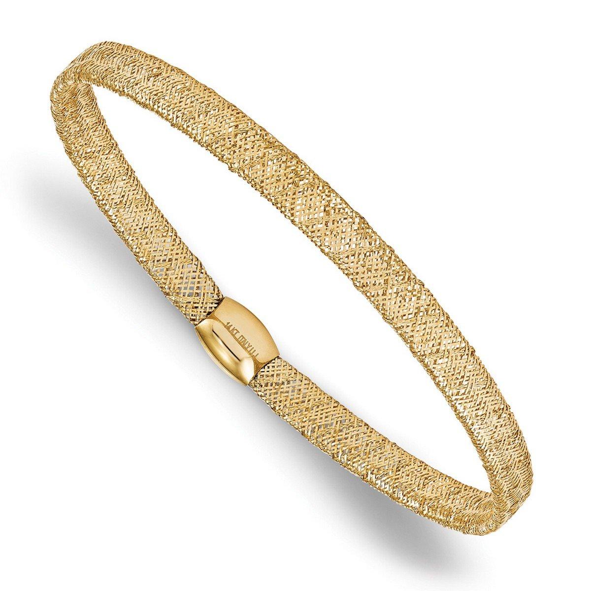 14k Gold Allurez Fancy Mesh and Flexible Stretch Bangle Bracelet