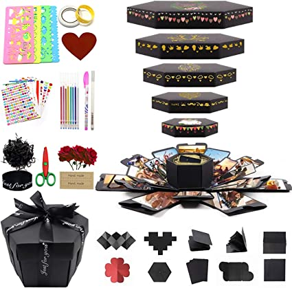 Amazon Com Koopro Explosion Box Set Handmade Photo Albums Diy Scrapbook 6 Faces Creative Case For Surprise Wonderful Gift Of Birthday Proposal Wedding Anniversary Christmas Valentine S Day Mother S Day New Year