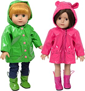 Doll Rain Coats with Boots for 18 Inch Dolls - Doll Clothing fits American Girl Dolls - Doll Raincoat with Boots (Pink and Green)