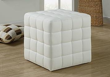 Brilliant Monarch Specialties Ottoman Cube Chair Modern Tufted Cube Ottoman Faux Leather White Creativecarmelina Interior Chair Design Creativecarmelinacom