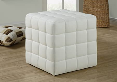 Monarch Specialties Ottoman – Cube Chair – Modern Tufted Cube Ottoman, Faux-Leather White